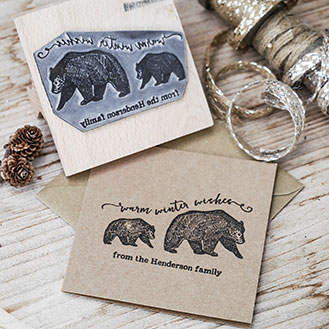 Bear - personalised greeting card stamps