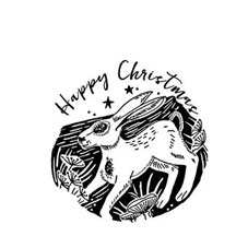 Hare Christmas Rubber Stamp