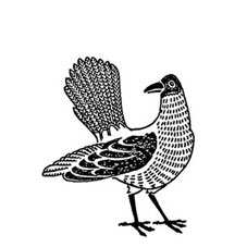 Folk Bird Rubber Stamp
