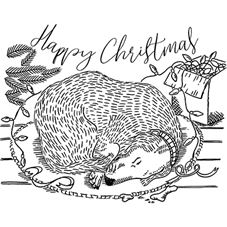 Sleeping Christmas Dog Personalised Stamp