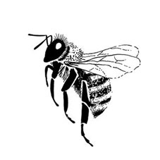 Bee Side View Rubber Stamp