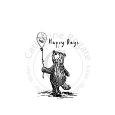 Happy Days Bear Rubber Stamp