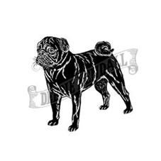 Black Pug Personalised Stamp