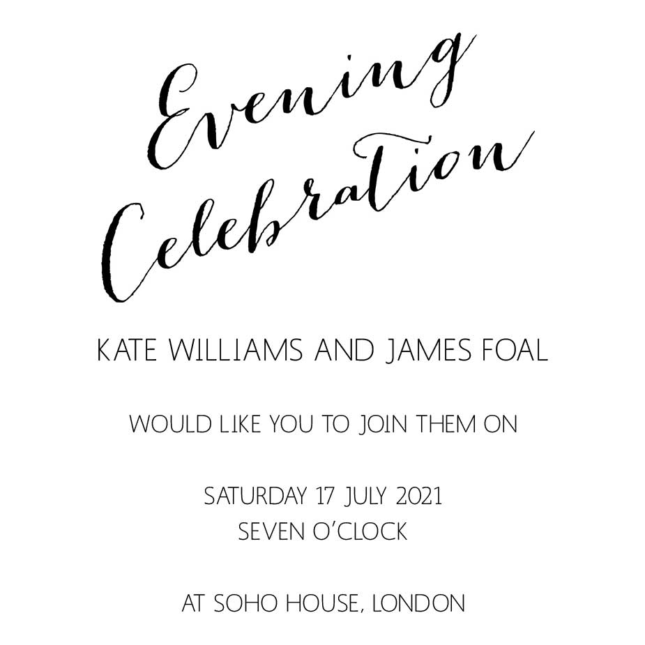 Order Calligraphy Wedding Evening Invitation Stamp
