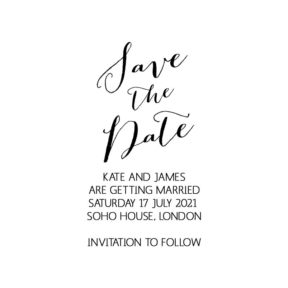 Order Calligraphy Wedding Save the Date Stamp