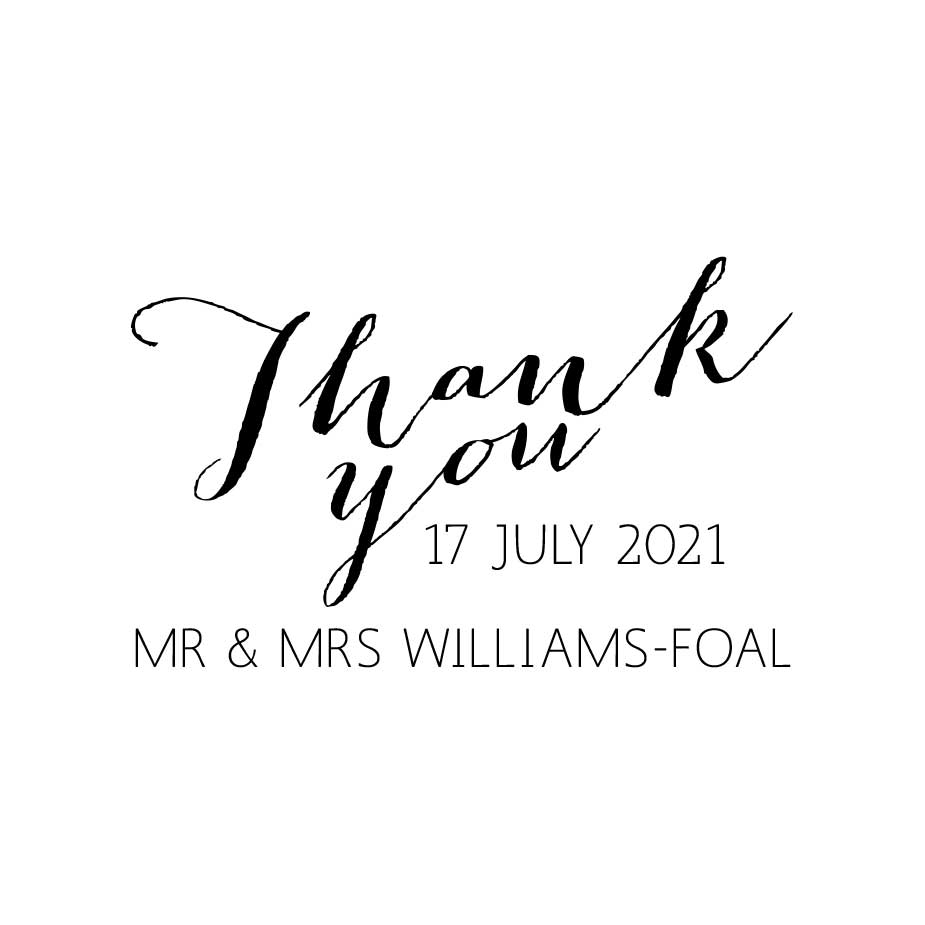 You can order this Calligraphy Wedding Thank You Stamp