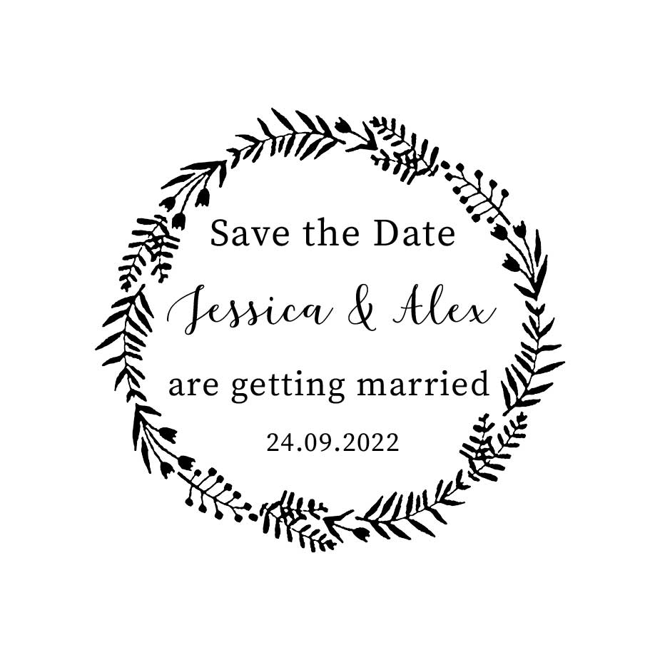 You can order this Folk Wedding Save the Date Stamp