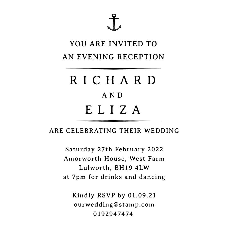 You can order this Nautical Wedding Evening Invitation Stamp