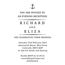 Nautical Wedding Evening Invitation Stamp Rubber Stamp