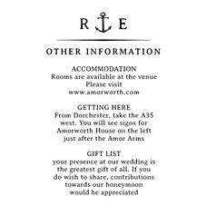 Nautical Wedding Information Stamp Personalised Stamp