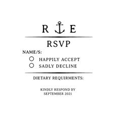 Nautical Wedding RSVP Stamp Craft Stamp