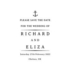 Nautical Wedding Save the Date 2