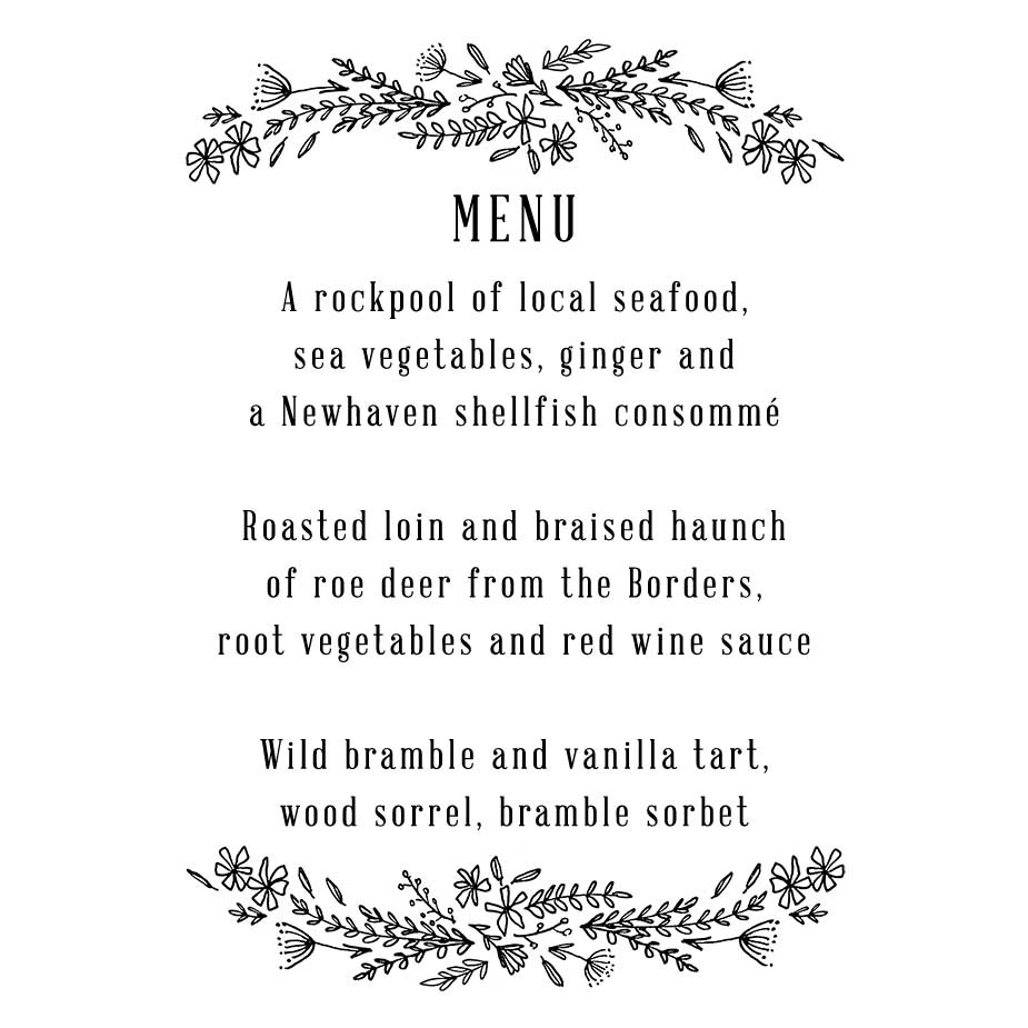 Order Wildflower Wedding Menu Stamp