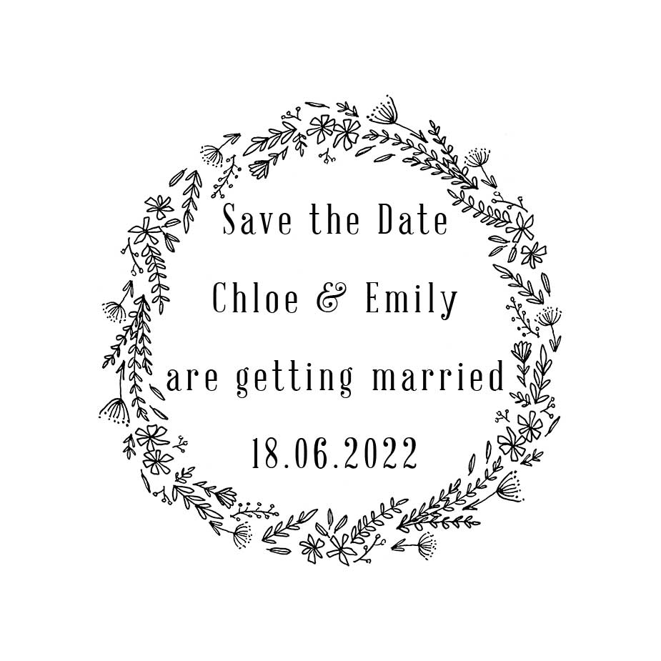 Order Wildflower Wedding Save the Date Wreath Stamp