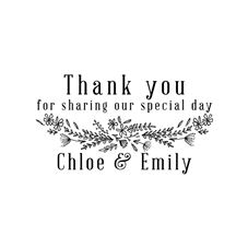 Wildflower Wedding Thank you Stamp Rubber Stamp