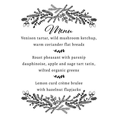 You can order this Winter Wedding Menu Stamp