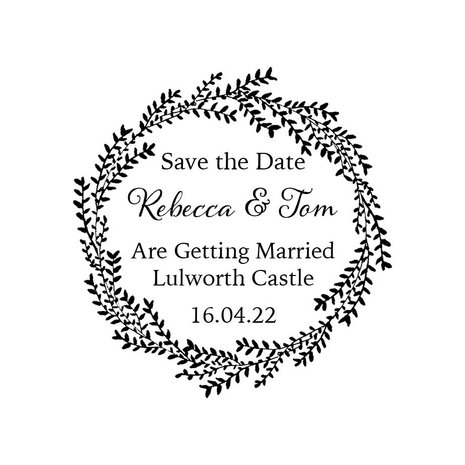 Order Willow Wedding Save the Date Wreath Stamp